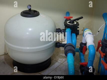 A saltwater swimming pool turbo cell chlorinator and filter Thailand - Stock Photo