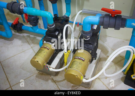 Saltwater swimming pool pumps, Thailand - Stock Photo
