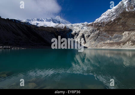 Birendra lake at the botom of the Manaslu glacier - Stock Photo