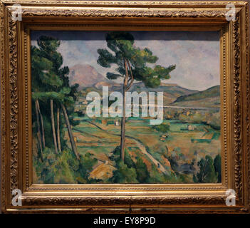 Paul Cezanne (1839-1906). Mont Sainte-Victoire and the Viaduct of the Arc River Vally, 1882-85. Oil on canvas. - Stock Photo