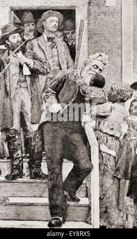 The last moments of John Brown before being taken to his execution by hanging, 1859.  John Brown , 1800 – 1859.  White American abolitionist.  After a painting by Thomas Hovenden.