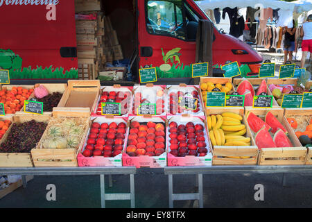Fruit displayed on a french market stall - Stock Photo