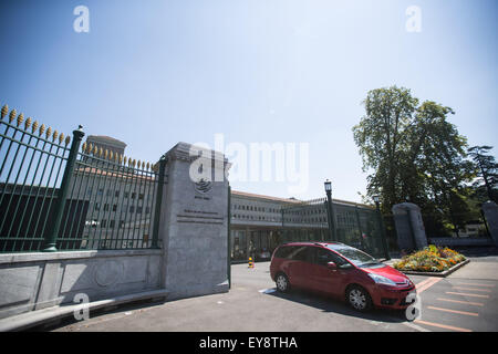 Geneva, Switzerland. 24th July, 2015. The World Trade Organization (WTO) logo is seen at the entrance of the WTO - Stock Photo