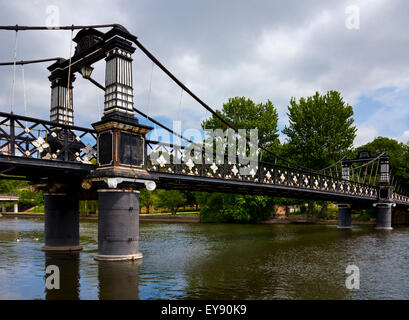 The Ferry Bridge at Burton on Trent Staffordshire England UK given to the town in 1889 by Michael Arthur Bass - Stock Photo