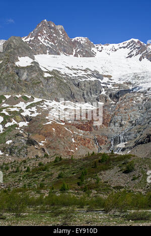 Retreating glacier on the Aiguille des Glaciers in the Mont Blanc massif in Val Veny in the Italian Alps, Italy - Stock Photo