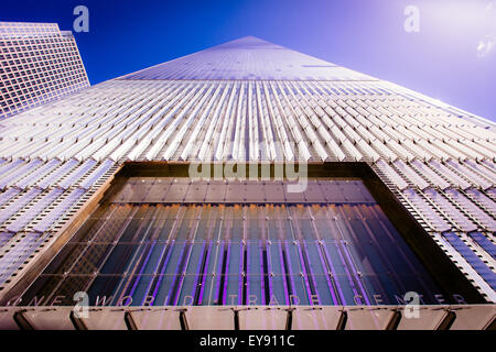 A view looking up the One World Trade Center building. - Stock Photo
