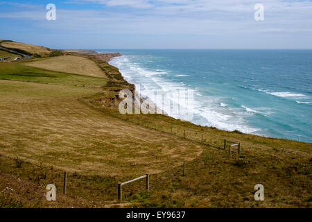 view from the top of the chalk cliffs at afton down on the isle of wight looking out across the solent. - Stock Photo