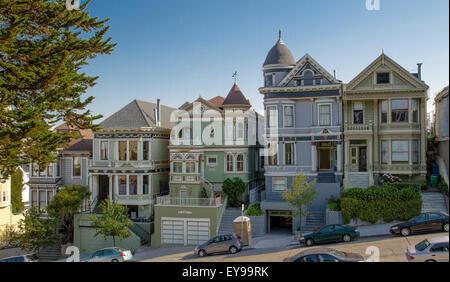 Beautiful Victorian Buildings near Alamo Square  In San Francisco, California , USA - Stock Photo