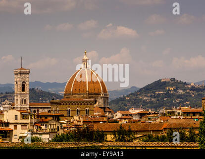 Florence Cathedral or Duomo with dome designed by Flippo Brunelleschi. Florence, Italy. - Stock Photo