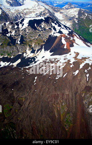 Scenic aerial of Lava Forks Park, Coast Mountains, British Columbia, Canada - Stock Photo