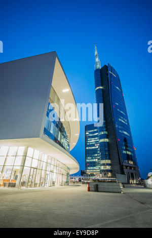 Skyscrapers in porta nuova; Milan, Lombardy, Italy - Stock Photo