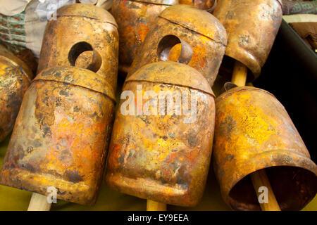 International Folk Art Market held annually in Santa Fe, New Mexico, USA  July 11, 2015, bells from India - Stock Photo