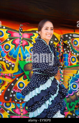 International Folk Art Market held annually in Santa Fe, New Mexico, USA  July 11, 2015, Flamenco dancer, woman - Stock Photo