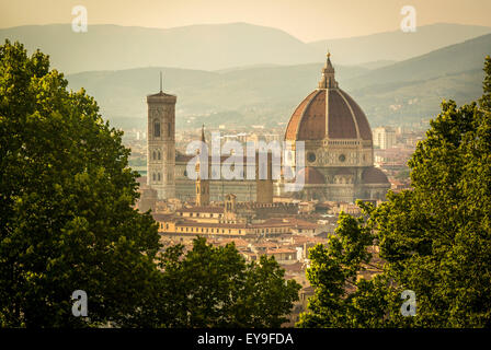 Florence Cathedral or Duomo shot from San Miniato al Monte. Florence. - Stock Photo