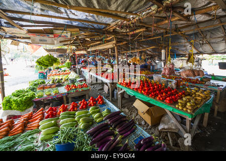 Produce for sale at the Largo de Lecidere market; Dili, East Timor - Stock Photo