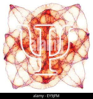 Computer artwork of the greek letter psi and a Lissajous figure in the background. The letter psi is commonly used - Stock Photo