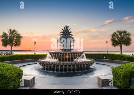 Charleston, South Carolina, USA at the Waterfront Park Pineapple Fountain. - Stock Photo