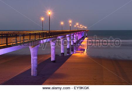 Pier at twilight, New Brighton, Christchurch, New Zealand - Stock Photo