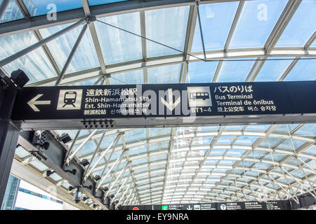 Information written in various language,Hamamatsu Station,Hamamatsu City,Shizuoka Prefecture,Japan - Stock Photo