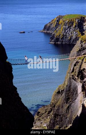 High Angle View Of A Rope Bridge, Carrick-A-Rede Rope Bridge, Ballintoy, County Antrim, Northern Ireland - Stock Photo