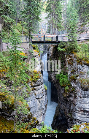 Maligne Canyon is a natural feature located in the Jasper National Park near Jasper, Alberta, Canada - Stock Photo