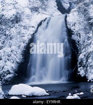 Low Angle View Of A Waterfall, Glenoe Waterfall, Glenoe, County Antrim, Northern Ireland - Stock Photo
