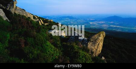 Slieve Gullion, Co Armagh, Ireland; Carnlough From A Mountain That Is Also An Extinct Volcano - Stock Photo