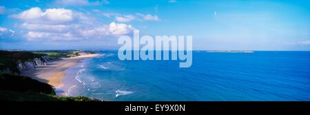 White Rocks, Portrush, Co Antrim, Ireland; Limestone Cliffs And The Atlantic - Stock Photo