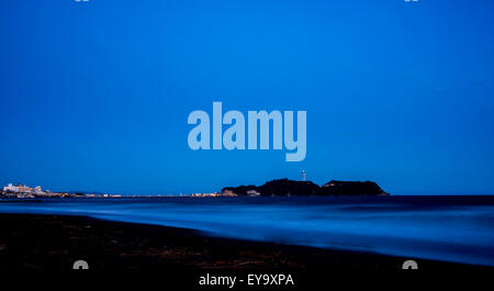 Night scene at Kugenuma Beach, Fujisawa city,Kanagawa Prefecture, Japan - Stock Photo