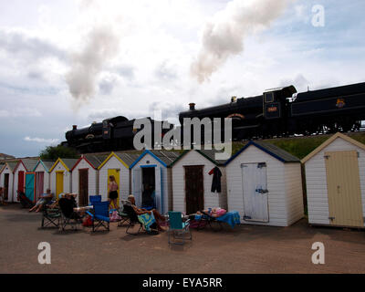 A double header, two steam locomotives pulling together on the The Dartmouth Steam Railway at Goodrington Sands, - Stock Photo