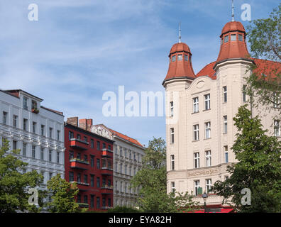 Berlin, Germany, reconstructed Art Nouveau apartment building in Berlin-Wedding - Stock Photo