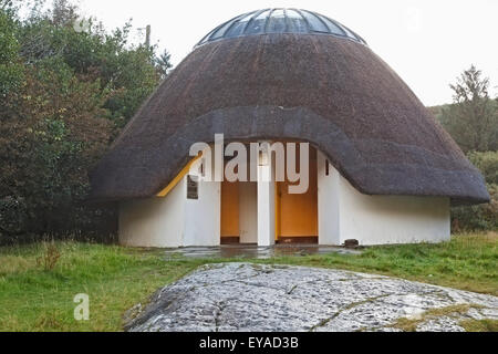 Thatched Roof Public Toilet Facilities In Gougane Barra Forest Park; County Cork, Republic Of Ireland - Stock Photo