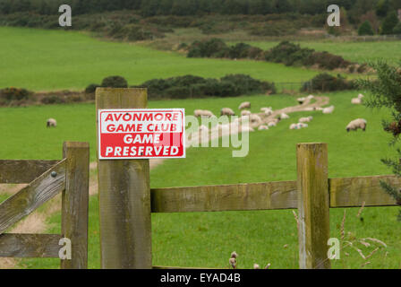 Sign On A Wooden Fence Post For Avonmore Game Club; County Cork, Ireland - Stock Photo