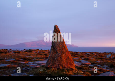 A Unique Rock Formation In A Peak Near Blacksod Bay With Achill Island In The Background; County Mayo, Ireland - Stock Photo