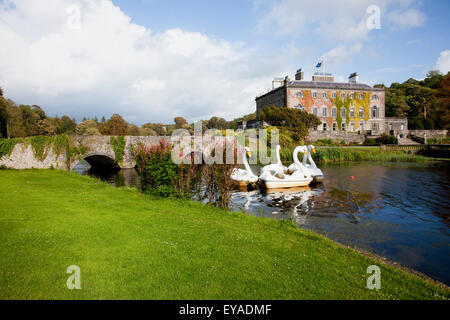 Paddleboats In The Shape Of Swans In A Lake At Westport House; Westport, County Mayo, Ireland - Stock Photo