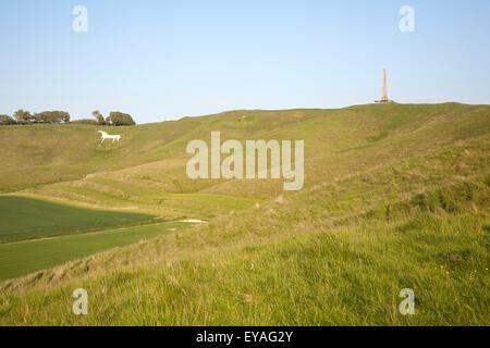 Scarp slope of White Horse on Cherhill Down and Lansdowne monument, Cherhill, Wiltshire, England, UK - Stock Photo
