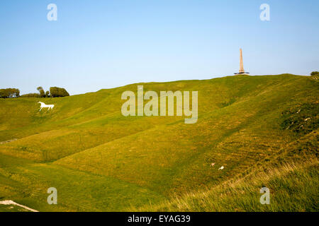 Scarp slope of White Horse on Cherhill Down and Lansdowne monument, Cherhill, Wiltshire, England, UK - Stock Photo