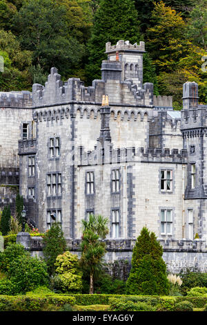 Close up of stone castle and gardens; County  Galway, Ireland - Stock Photo