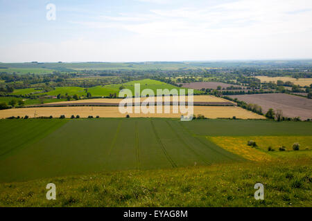 Steep chalk escarpment looking south from the northern side of the Vale of Pewsey near Oare, Wiltshire, England, - Stock Photo