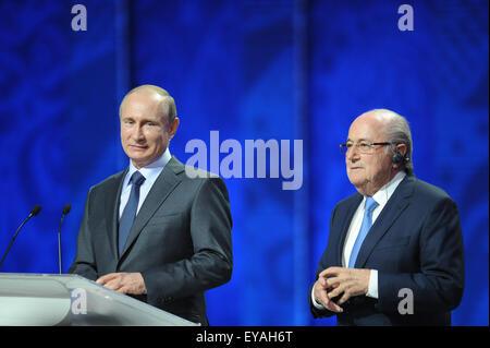 St.Petersburg. 25th July, 2015. FIFA's president Sepp Blatter (R) stands beside Russia's President Vladimir Putin - Stock Photo