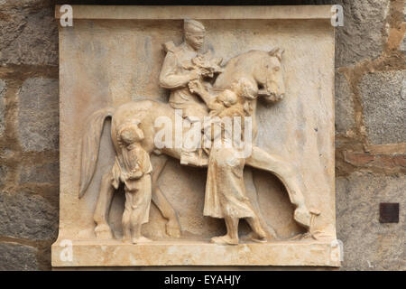 Limestone relief 'Village on May 9, 1945' (1950). by Czech sculptor Ladislav Picha displayed in the South Bohemian - Stock Photo