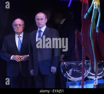 St.Petersburg. 25th July, 2015. FIFA's president Sepp Blatter (L) stands beside Russia's President Vladimir Putin - Stock Photo