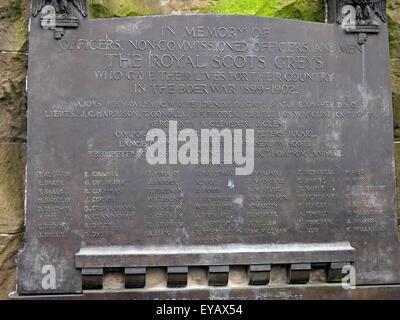 Plaque in memory of the Royal Scots Greys, Princes St, Edinburgh, Scotland, UK - Stock Photo