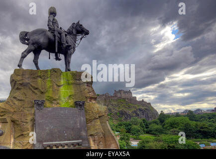 Statue/Plaque in memory of the Royal Scots Greys, Princes St, Edinburgh, Scotland, UK - Stock Photo