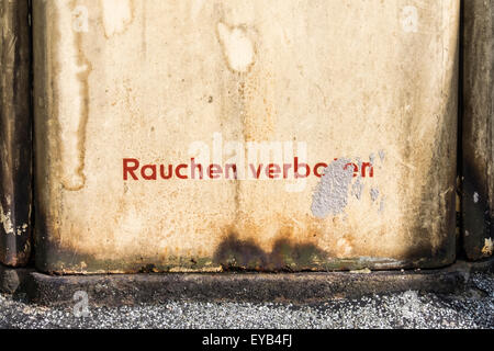 Urbex, Dilapidated, disused, rusty petrol pump detail, no smoking, Rauchen verboten, Kreuzberg, Berlin, Germany - Stock Photo