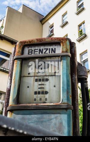 Urbex, Dilapidated, disused, old Petrol Station garage with rusty benzin pump, Kreuzberg, Berlin, Germany - Stock Photo
