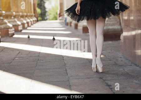 Girl ballerina flats standing on tiptoes - Stock Photo