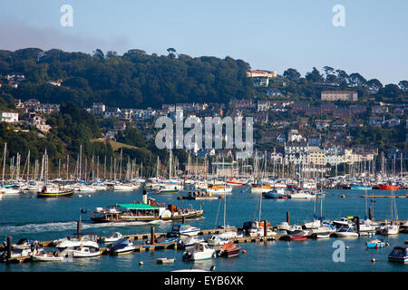 The restored paddle steamer 'Kingswear Castle' heading down river in Dartmouth on the River Dart, Devon, England, - Stock Photo