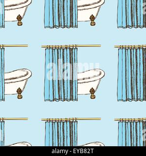 Sketch bath curtains in vintage style, vector seamless pattern - Stock Photo