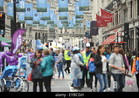 Regent Street, London, UK. 26th July 2015. Regent Street is closed every Sunday in July for entertainment. © Matthew - Stock Photo